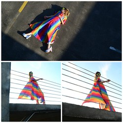 Space Cowgirl - Vintage 90s 80s 70s Rainbow Blue Orange Red Purple Yellow Nightie Robe Maxi Disco Dress, Jeffrey Campbell Silver Holographic Platform - Jesus Don't Want Me For A Sunbeam