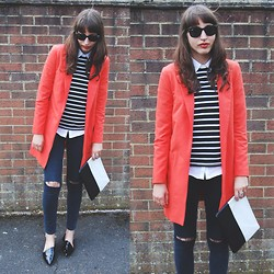 Amy-Rose W - New Look Duster Coat, Topshop Jamie Ripped Knee Jeans, Zara Asymmetric Pointed Flats - Transitional Coat #3