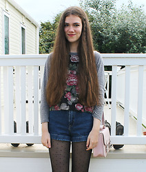 Lois H - Truly Madly Deeply Floral Baseball Top, American Apparel High Waist Denim Shorts, Topshop Pink Satchel, H&M Spotty Tights - Remember when