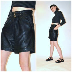 Gabtron P - Leather High Waisted Boy Shorts, Minimalist Leather Sandals, Onefortynine Vintage Cropped Turtle Neck - The future does the 90s