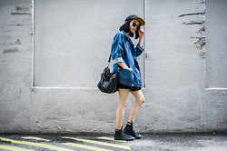 Ellie Tan - Denim Jacket, Akomplice 5 Panel, Asos Leather Slingbag, Converse High Cut Sneakers - What what