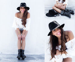 Nicolle Gil - Forever 21 Hat, Lfstores Top, Forever 21 Shorts, Charlotte Russe Boots - BOOTS ON