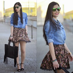 Paula Deiros - Mango Skirt, Guess? Watch, Zara Sandals - Denim & Flowered Skirt