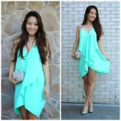Kimberly Kong - Charlotte Russe Dress, Lily Rain Clutch, Fjord Necklace, Nine West Shoes - The Ruffled Trapeze