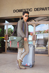 David Guison - H&M Bomber Jacket, Mendoza Luggage, Palladium Boots - Departure