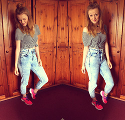 Beth Kennett - Topshop Pendant Choker, New Look Striped Tee, Topshop Mom Jeans, Nike Running Shoes - I Believe I Can Nike.