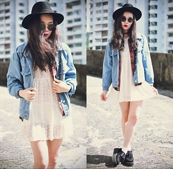 Tess Lively - Choies Lace Dress, Younghungryfree Denim Jacket - What Violet says