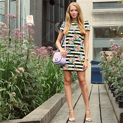 Natalie A - Black And White Striped Dress, Kate Spade Purple Bag, Silver Sandals, Statement Necklace - Yorkville Wildflower