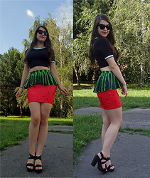 Patricia C. - Black Milk Clothing Watermelon Skirt, Stradivarius Shoes, Zara Crop Top - Watermelon