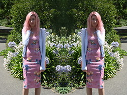 Coral Baker - H&M Pastel Cardigan, Desireclothing Floral Midi Dress - Floral affection