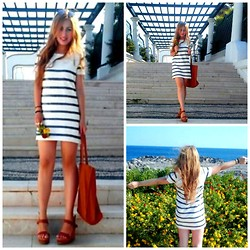 Maria Pasiali - Zara White Striped Sequin Mini Dress, Bershka Brown Handbag - Hello from Rhodes