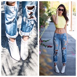Tienlyn . - Dolce Vita Ankle Boots, Friends + Lovers Ripped Boyfriend Jeans, Bardot Crop Too, Love Juliet V Cuff, Céline Sunglasses - U TURN