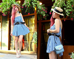 Aika Y - H&M Boater Hat, Asos Gingham Print Skirt As A Dress, Goodwill Patent Belt, Topshop Cross Body Mini Bag, Aldo Studded Sandals - End Of Summer Gingham