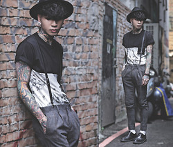 IVAN Chang - Topman Plaid Pants, Wrongpeople Black Tee - 200814 TODAY DR.MARTENS STYLE