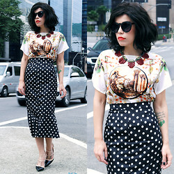 Priscila Diniz - Top And Skirt (Set), Shoes, Sunnies, Necklace (Similar), Wig - Delicate