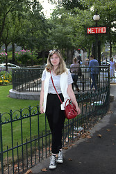 Elizabeth Claire - Target White Vest, Forever 21 Grey And White Striped Tee, Jennifer Lopez For Kohls Black Trousers, Converse Black, K Mart Red Purse - Metro