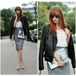 Jules S - Mbym Leather Jacket, H&M Pencil Skirt, &Otherstories Bag, Ray Ban Clubmaster Sunglasses - Clubmaster