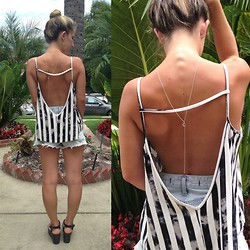 Tawnie& Brina - Asos Plunging Striped Tank, Lovers + Friends Denim Shorts, Tawnie & Brina Lariat Paw Print Necklace - Look Back At It