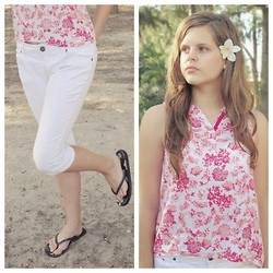 Emilia M. - Sfera Red Floral Shirt - Red flowers