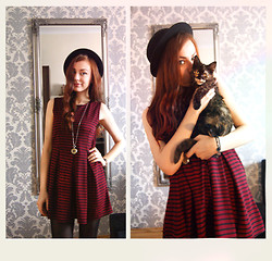 Marie M. - Clock, Influence Striped Dress, H&M Black Hat - Stripes and cat