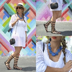 Eli GGarcia - Joe Fresh White Tunic, Nine West Gladiator Sandals, Michael Kors Mini Bag, H&M Panama Hat, Chikas Terra Necklace - CHiKAS: An eco-friendly brand Look 2