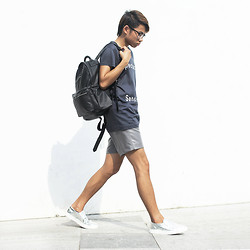 Judas Lee - Acne Studios Spectacular Sensation T Shirt, Monki Leather Backpack, Greats Nick Wooster X Wooster Kicks Slip On Sneakers - JUXTAPOSING