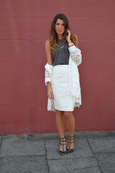 Gemma Talbot - Asos White Leather Skirt, Primark Vest, Valentino Rockstud, Quiz Lace Jacket - White Out