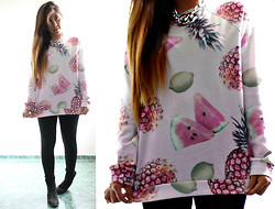Karen Cardiel - Bershka Tropikal Fruits Sweatshirt - Watermelon + Pineapple + Lemon = Perfect match
