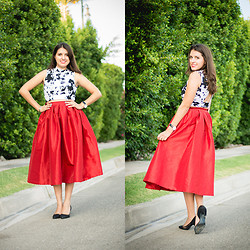 Avi Valencia - Choies Red Midi Skirt, Papaya Crop Top - Big Changes