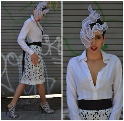 Faustina and Johnny - Etro White Blouse, Cluny Lace Skirt, Philomena Kwok Hat - Lace