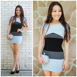 Kimberly Kong - Spicy Avenue Dress, Lily Rain Clutch, Lorraine Tyne Earrings, Candie's Shoes - The Ombre Bandage Dress