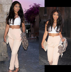 Nadira Ramautarsing - Saboskirt Crop Top, Missguided Cigarette Trousers, Zara Leopard Cardigan, Clutch, Swarovski Necklace, Zara Nude Animal Sandals - Beautiful Summer Night in Rome