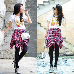 Wenny Yolanda - D & Clothing Junk Food Lover T Shirt, Dazzle Market Plaid Pattern Skirt, Shoe Cult Heels - Junk Food Lover!