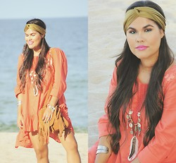 Sue Figueroa - Soulmakes Day Tripper Necklace, Forever 21 Cuff, Eshakti Boho Dress, Ecote Fringe Bag, Lala Turban - Beach Vibes