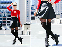 Rachel Ellam - American Apparel Red Long Sleeve Crop, H&M Faux Leather Circle Skirt, Two Toned Tights, Modress Buckle Boots - San Francisco Skyline