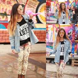 Louise Xin - Fashion Advision Sweater, Rebecca Stella For Nelly Denim Jacket, Leopard Leggings, Leopard Shoes - Fun fair - Never grow up