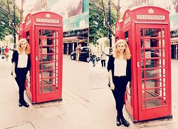 Mel F - H&M Croptop, Urban Outfitters Cardigan, Bershka Jeans, H&M Boots - London Sightseeing.