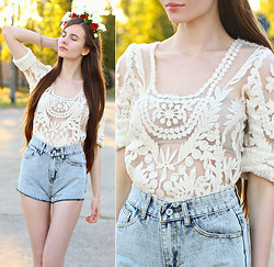 Ariadna M. - Sheinside White Lace Blouse, Romwe Denim Shorts, Handmade Floral Crown - Born to Die