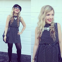 Jillian Goltzman - Forever 21 Polka Dot Frock, Cambridge Satchel Co. Black, Target Statement Necklace, Kate Spade Sunglasses - Monochromaddict
