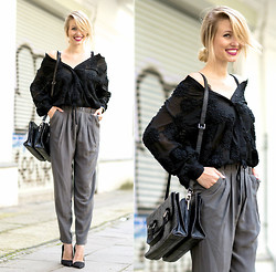 Leonie Hanne - H&M Transparent Blouse, Zara Wide Pants, Zara Heels, Intimissimi Lacy Bustier, Zara Leather Bag - Romantic Vibes