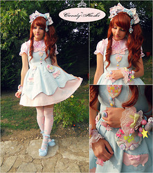 Candy Hashi - Angelic Pretty Dress, Angelic Pretty Shy Bear Socks, Angelic Pretty Dreamy Doll House Headbow, Bodyline Pink Blouse, Kawaii Mania Pastel Heart Necklace, Maniaq Broche - Sweety Garden ✨