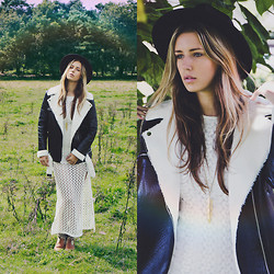 Jamie L ♡ - Forever 21 Crochet Dress, Missguided Leather Shearling Jacket, Kiboots Boots, Oasap Black Hat, Sacha Golden Feather Necklace - NOT ALL WHO WANDER ARE LOST