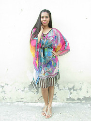 Pooja Mittal - Hidden Fashion Sheer Chiffon Multi Aztec Mayan Print Kaftan Dresses - Childhood Inspirations