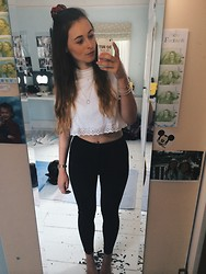 Jodie Boulton - Urban Outfitters White Tee, Topshop High Waisted Jeans, Urban Outfitters Scrunchie - BIRTHDAY