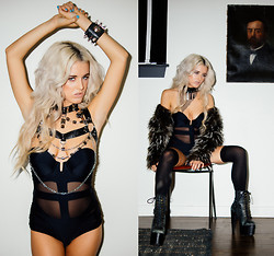 Rachel Lynch - House Of Cach Choker, House Of Cach Body Chain, House Of Cache Cuff, Lee + Lani One Piece, Nasty Gal Thigh Highs, Jeffrey Campbell Human Alien Shoes, Nasty Gal Fur Jacket - ULTRAVIOLENCE / /