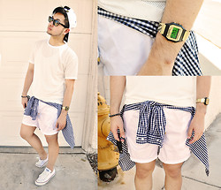 Shawn C. - Timex Vintage Watch, Topman Mesh Shirt, 2(X)Ist Swimshorts - Sports Luxe (Visit my blog)