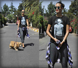 Amina Allam - Giant Vintage Mirrored Sunnies, Philipp Plein T Shirt, American Eagle Outfitters Plaid Shirt, H&M Jogging Pants, Christian Louboutin Pumps - Casual Monday