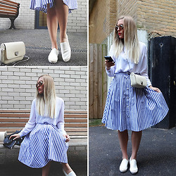 Dena T. - Sheinside Striped Midi Skirt, Sheinside White Blouse, Alisonsman White Leather Espadrilles - MY GIRLISH SIDE