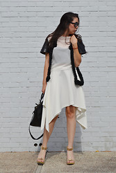 Daniela S. - Daniela Soriano Top, Daniela Soriano Braided Vest, Daniela Soriano Skirt, Zara Bag, Cuff Heels, Shades, Forever 21 Lace Bustier - LIFE ISN'T BLACK OR WHITE.