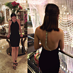 Eunice T. - Zara Backless Crystal Dress, Aldo Suede + Leather Heels - Behind the glamour